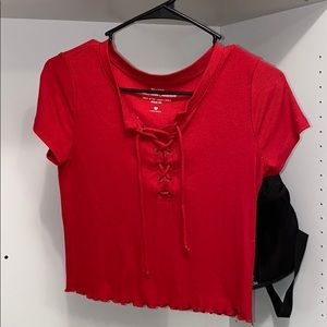 Red lace up hollister tee
